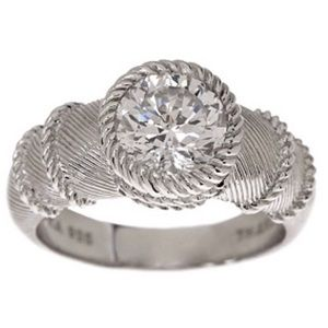 Judith Ripka Sterling 100-Facet CZ Solitaire Ring